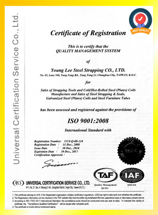 Young Lee Certificate - ISO 9001